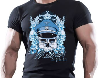 Muertos Captain Skull. Men's black cotton t-shirt