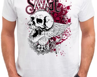 Savage Skull. Men's white cotton t-shirt