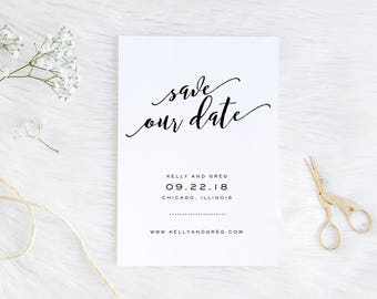 Save the Date / Printable Save the Date / Modern Save the Date / Digital Files Only /Modern Calligraphy  / 5x7
