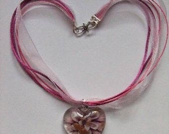 PRICE reduced: Pink Glass Heart Necklace, cotton cord and organza
