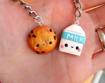 Cookie and Milk Breakfast Friendship necklaces Couple BFF best friends Valentine's day