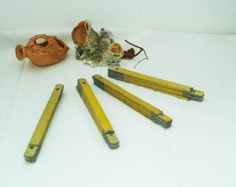 The Vintage Folding Carpenter meter, Yellow Wooden Folding Meter, Bulgarian Wooden Meter, Carpentry and Metering, Measure Meter
