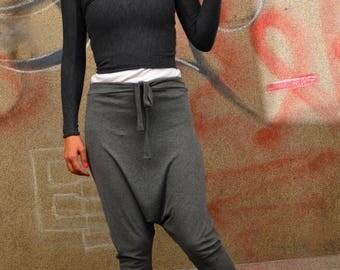 Loose Casual Grey Drop Crotch Pants/ Harem Pants/ Yoga Leggings/ Charcoal Yoga Pants/ Ribbed Cotton Lycra Jersey/ Loose Pants