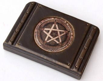 Book of Shadows,Personalized Leather Bound Journal, Pentagram Journal, Pentacle Notebook, Magical Diary