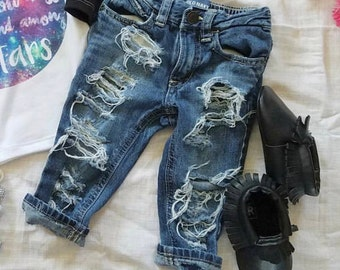 GIRLS- destroyed denim jeans MTO