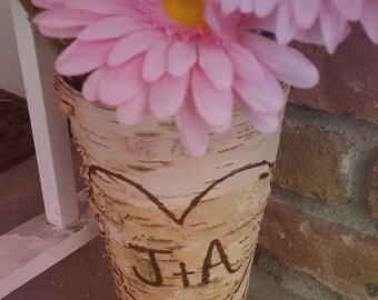 Birch Wood Vase / Personalized Birch wood Vase/ Birch Vase / Birchwood Vase / Sparkler Holder / Shower Centerpiece / Rustic Home Decor