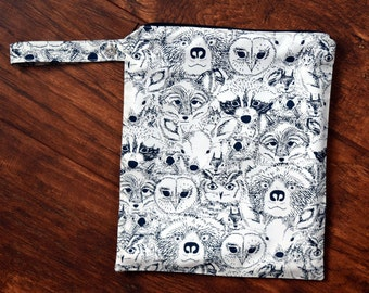 Menagerie in Onyx Wet Bag~ PUL Bag~ Travel, Baby, Diaper Bag, Dry or Wash Bag~ Resuseable Bag~ Forest Owls, Bears, Deer, Foxes