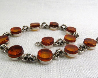 "Baltic Amber cognac Bracelet 7.5"" Natural Amber Cuff 925 Sterling Silver Amber Jewelry"