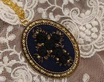 BRC1 Black roses cross necklace