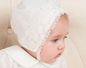 Emma Lace Bonnet, Ivory Linen & Lace, Girls Baby Bonnet, Christening Bonnet