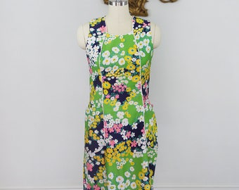 Vintage 1970's I-Appel Floral Shift Dress with Princess Seams