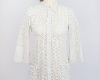 Vintage 1970's Teddi of California Polyester Crochet Jacket/Shirt