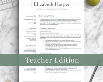 Teacher Resume Template For Word U0026 Pages | Teacher CV Template, Elementary  Resume, Teaching  Teaching Resume Templates