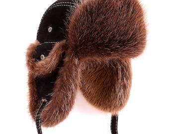 Men's Bomber Hat from Beaver Fur