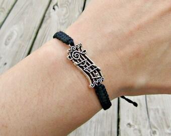 Music Notes Bracelet - Music Staff Bracelet - Music Gift - Piano Teacher Gift - Sheet Music Gift - Adjustable Hemp Bracelet - Musician Gift