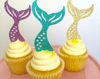Mermaid Cupcakes, Mermaid Tail Cupcakes, Mermaid Cupcake Toppers, Under the Sea Cupcakes, Mermaid Birthday, Mermaid Theme Party