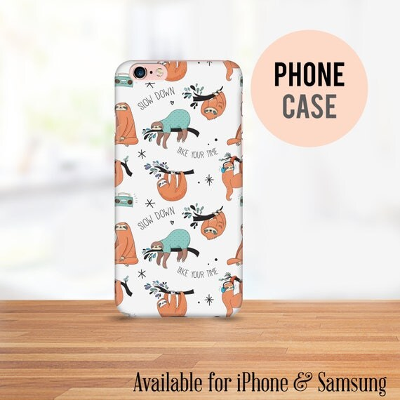 Sloth Cell Phone Case - Available for iPhone and Samsung - Bright Colors