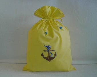 Yellow and Navy, elegant pouch for l ' summer