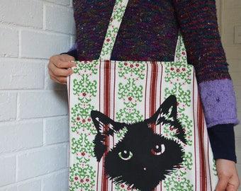 Cat Tote Bag. Floral Screen Printed. Pickle Birman Ragdoll Cat face. Handmade. Large Market Tote / Shopping Bag with Long Handles.