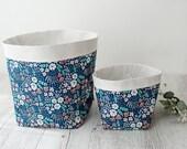 Extra large floral storage basket. Navy floral. Fabric basket. Plant pouch. Nursery decor. Bathroom storage