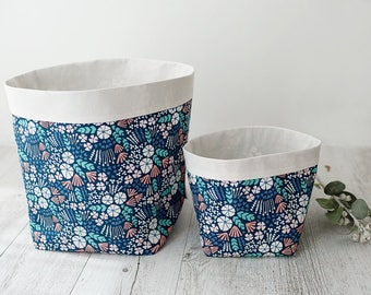 Extra large floral storage basket. Navy floral. Fabric basket. Plant pouch. Nursery decor. Bathroom storage