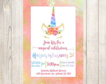 Unicorn birthday invitation - unicorn invitation, magical invitation, Rainbow Unicorn Birthday Invitation, Unicorn Pink