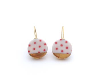 Polkadot abstract earrings, porcelain jewelry, 18k solid gold earrings, geometric jewellery, ceramic and gold earrings, pink polkadots,