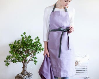 Lilac full Apron with pockets and long adjustable straps made from natural Baltic linen