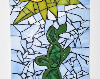 """Desert Cactus  - Mosaic  Wall Piece 24"""" x 12""""- 3D"""