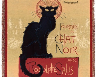 Black Cat Tapestry Blanket - French Decor Throw - 56x56 Belgian Tapestry Throw - Le Chat Noit Throw by Steinlen - TT-7127