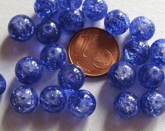 20 perles verre craquelé rond 10mm Transparent Bleu Foncé DIY création bijoux