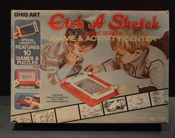 1981 Ohio Art Etch a Sketch Game and Activity Center with 6 Reusable Fun Screens