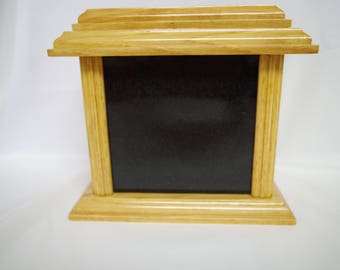 Pet Urn Medium Size Hickory Wood Granite Front Pets Photo Engraved On Front Dogs