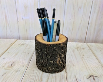 Pear Wood Pencil Holder, Pen Holder, Office Decor, Wood Desk Organizer, Pencil Cup, Desk Accessory, Teacher Gift, Rustic Décor