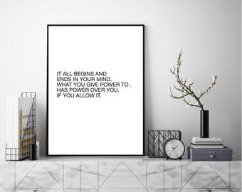 Ends In Your Mind, Wall Art, Modern Art Print, Typography Poster, Scandinavian Art, Minimalist Print, Literary Print, Literary Quote