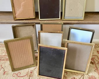 10 Brass Frames Gold Picture Frames 5x7 Frames Wedding Frames Metal Frames Table Number Holders Menu Holder Vintage Frames Old Frames