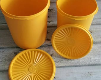 Vintage Tupperware Canister Set, Orange Yellow Gold Servalier With Snap Lid, Set of 2 Canisters
