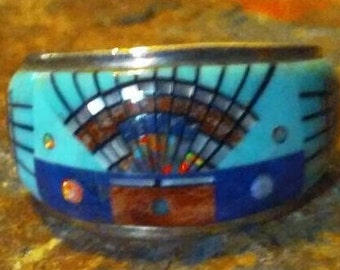 Unsigned Inlay Ring Sz6 Arizona Turquoise Opal Lapis Lazuli Spiny Oyster Shell and 925 Sterling Silver