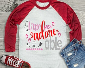 Adore AdorAble svg, Little Miss Valentine's Day svg, Valentine svg, Valentine's day shirt, lOVE png, SVG, Dxf, Eps, Silhouette, Cricut