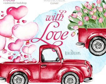 Valentine's Day, Watercolor Vintage Red Truck, Valentine love, Hearts, Floral pink tulips, envelopes, air balloons, valentines retro trucks