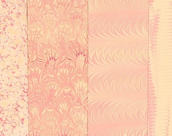 Hand Marbled Paper Set: 4 Sheets 8x11 (Pink Party)