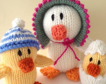 Knitted Puddle Duck Family. Australian made Toy.