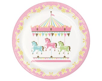 "9"" Carousel Party Plates - Carousel Horse - Carousel Birthday Plates - Carnival Baby Shower - Pastel Party Supplies - Merry Go Round Party"