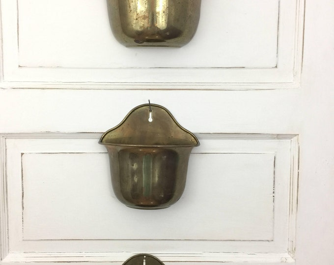 Wall Planters Vintage Brass Set of Three