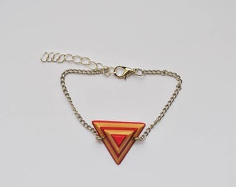 Silver chain and recycled skateboard wood pendant bracelet