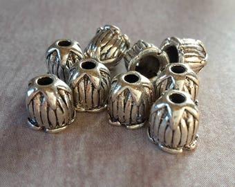 Cups drops, bead Caps star Tulip finials Cap bead caps - ethnic antique - silver - 6.5 x 6 mm