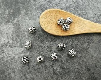 Beads ethnic, boho round, silver, 6x5.5 mm
