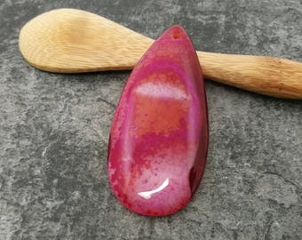 52 mm - large stone Agate pendant, drop pendant - Pink and white - 52 x 26 mm