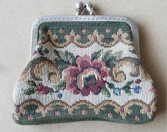 Vintage Retro Coin Purse Floral Tapestry Coin Purse 1960 Needlepoint