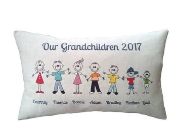 "STICK PEOPLE FAMILY Personalised Cushion Cover Gift - Characters & Names - Embroidered Bolster Pillow Cotton Linen 11"" x 19"" or 16"" Gift"